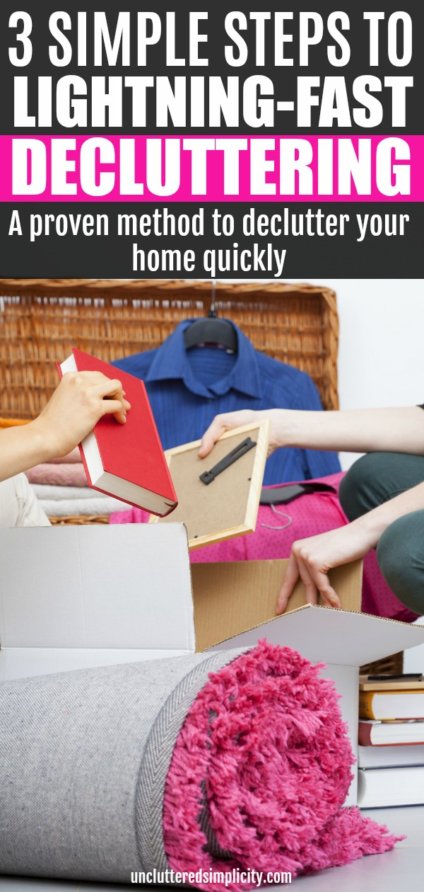 Tired of decluttering little by little? This simple method will help you declutter your home fast! #declutter #declutterfast #declutteringtips #declutterquickly