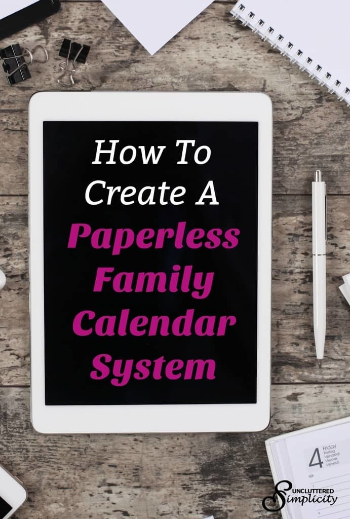 paperless family calendar | digital family calendar | organize family activities