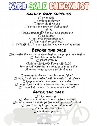 Yard Sale Printable Checklist