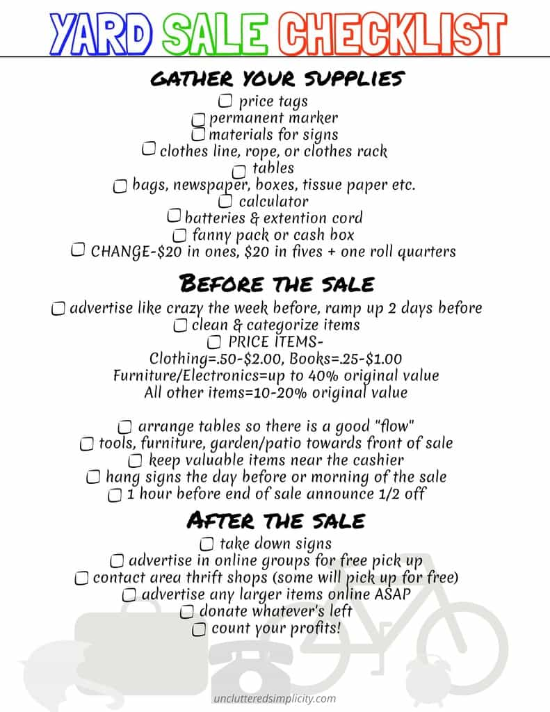 Organize your next yard sale with this free printable yard sale checklist. #freeprintables #yardsale #declutter #organize
