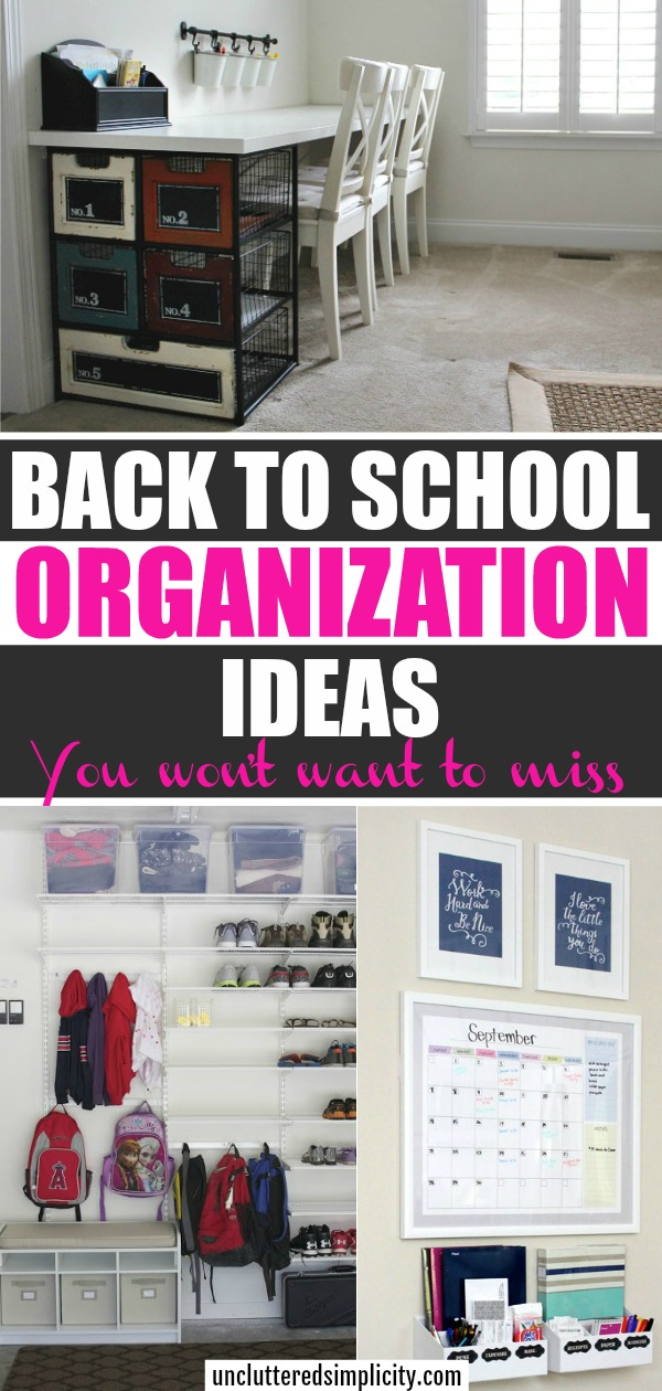 It's never too early (or to late) to get organized for back to school. Here are some back to school organization ideas to help inspire you. #backtoschool #organizationideas #backtoschooltips #backtoschoolorganization