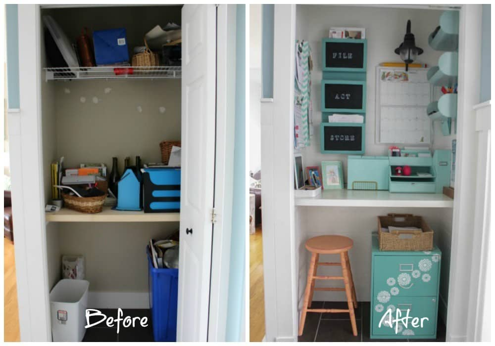 Organized office in a closet