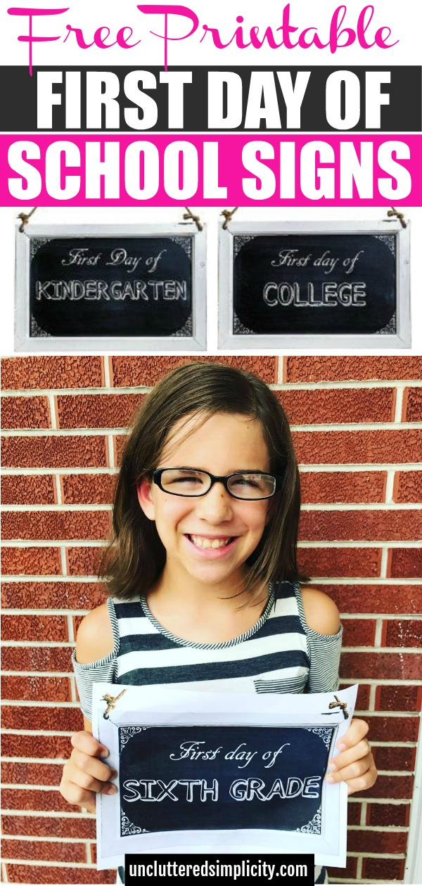 These printable first day of school signs are the perfect way to commemorate your child's special day! #backtoschool #firstdayofschool #schoolprintables