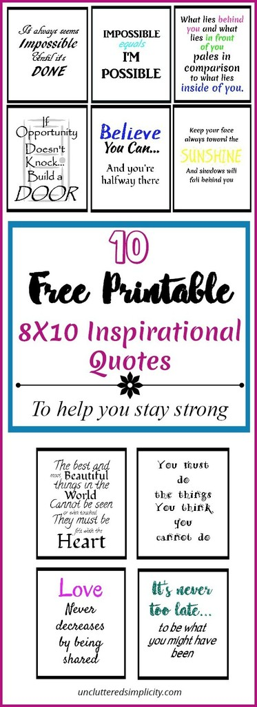 graphic relating to Free Quote Printable referred to as 10 Absolutely free Printable Inspirational Estimates That Will Support Your self Towards