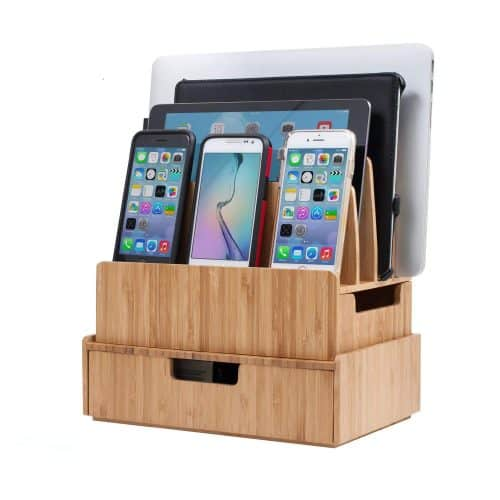 bamboo multi-device charging station | Gift Guide for Messy People