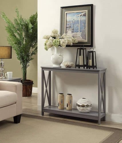 Entryway table grey gift guide for messy people