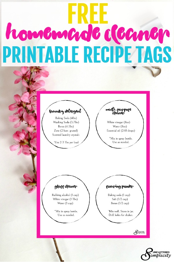 Homemade Cleaner Recipes Free Printable #greencleaners #homemadecleaners #cleaningtips #minimalist