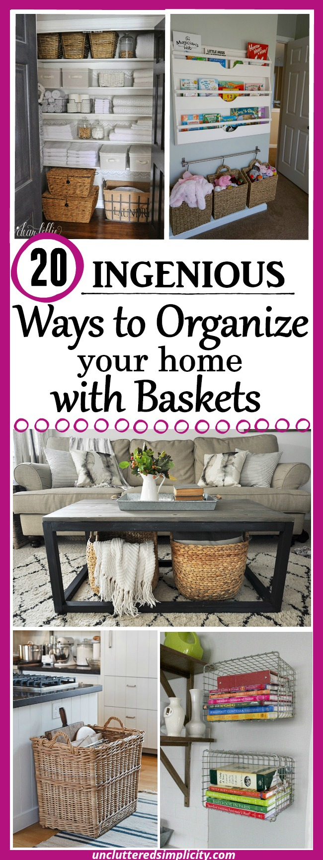 organize with baskets | wicker basket ideas | wire basket ideas | burlap basket ideas | basket storage #organize #storageideas #baskets