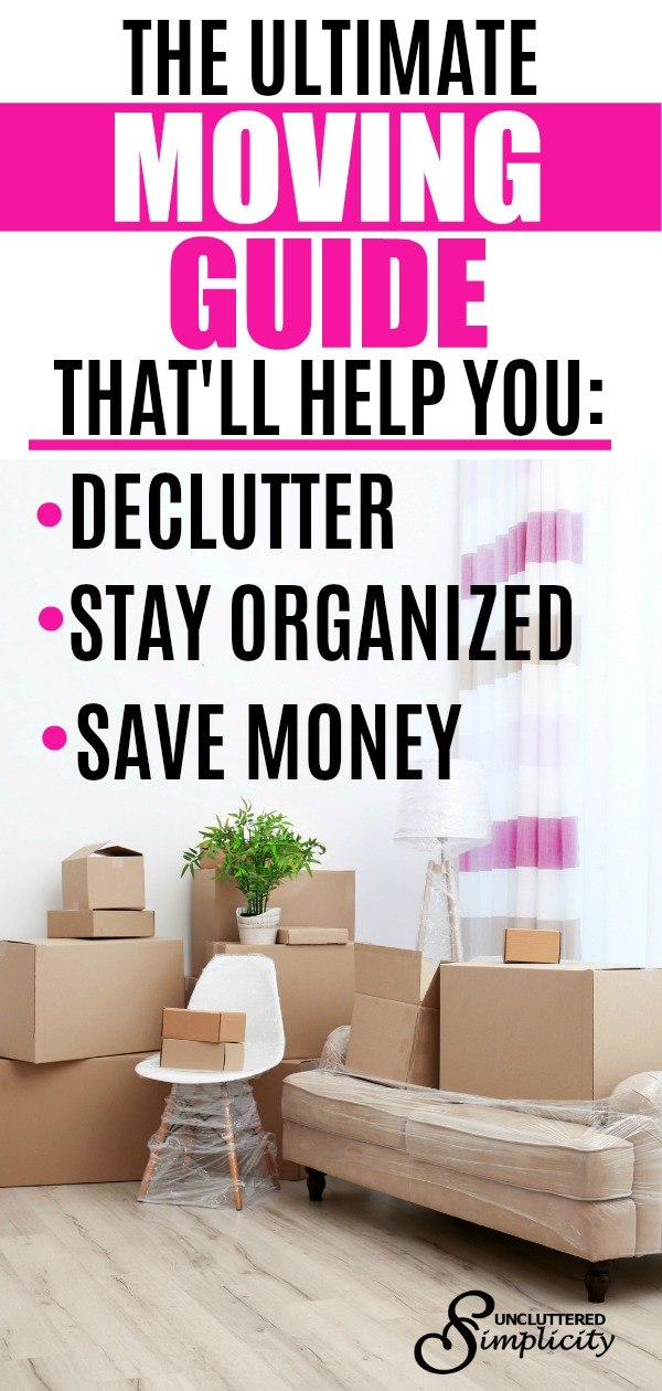 decluttering before moving, moving tips, guide to moving, staying organized during a move, how to save money when moving. #declutter #organize #movingtips
