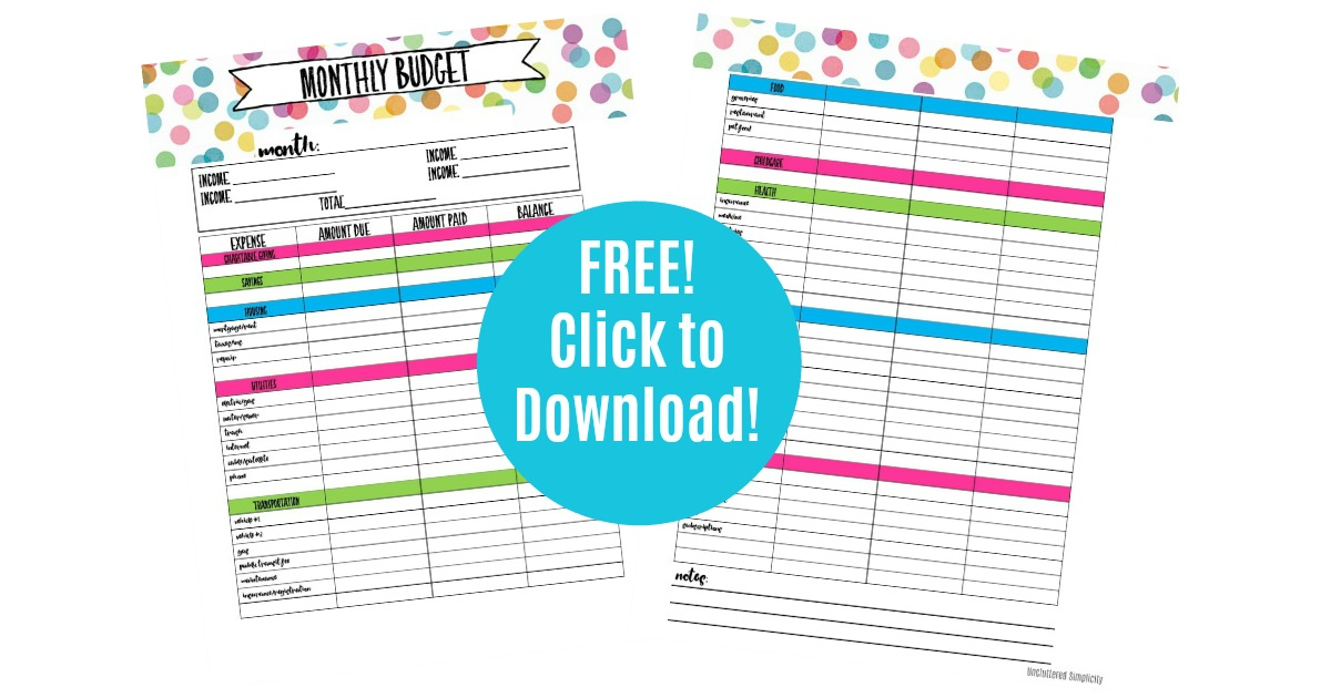 benefits of living on a budget free printable