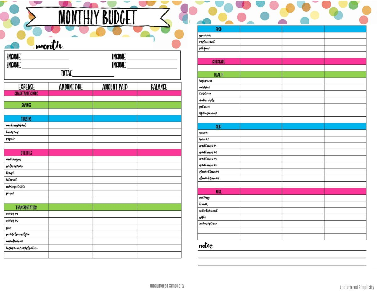 budget planner printable free thevillas co