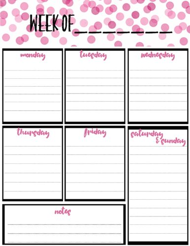 Free Weekly Calendar Planner Printable Full And Half Size Single Page
