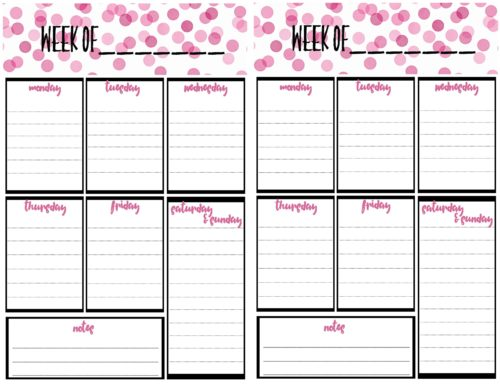 photo relating to Free Weekly Planner Printable identified as Cost-free Weekly Calendar Planner Printable: Finish And 50 percent Dimensions