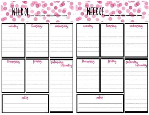 Free Weekly Calendar Planner Printable