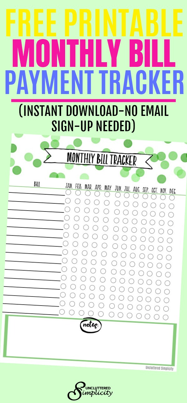 Free Printable Monthly Bill Payment Tracker #freeprintables #budget #budgetprintables #plannerprintables