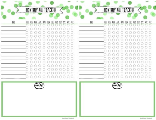 Free Printable Monthly Bill Payment Tracker (half size)