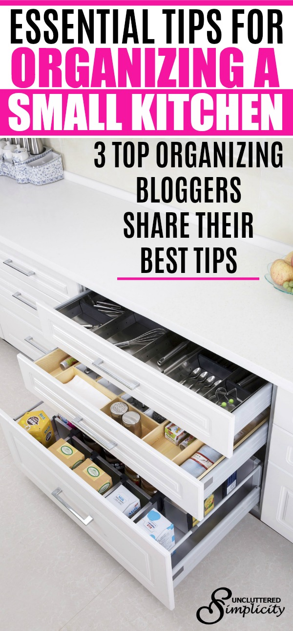 Essential Tips for Organizing a Small Kitchen: 3 Top Organizing Experts Share Their Best Tips #organization #organize #smallspacehacks