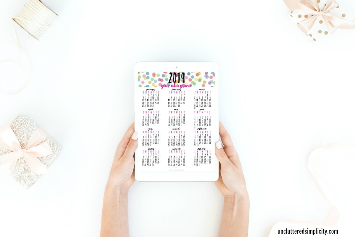 free printable 2019 year at a glance calendar