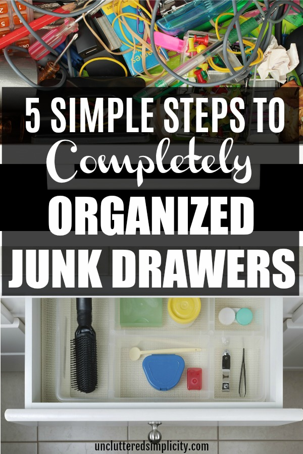 Ready to organize your junk drawer once and for all? Check out this handy 5-step plan to declutter and organize that pesky junk drawer! #junkdrawer #organize #homeorganization #declutterandorganize