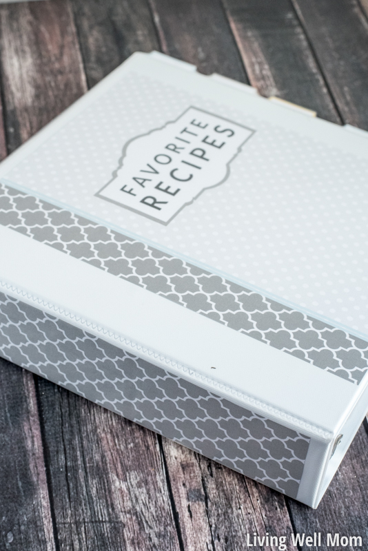 Grey and white recipe binder organizing paperwork