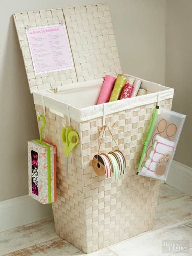 gift wrapping station in a hamper organizing paperwork