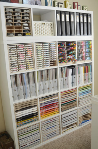 craft supplies stored on ikea shelf organizing paperwork