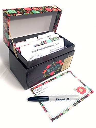 floral recipe box organizing paperwork