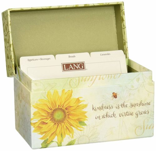 yellow and green recipe box with sunflower Solutions for Organizing Paperwork