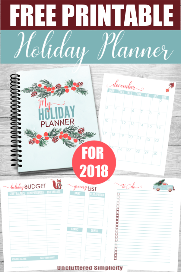 Free Printable Holiday Planner for 2018. Plan your holiday events with this beautiful watercolor printable planner for 2018
