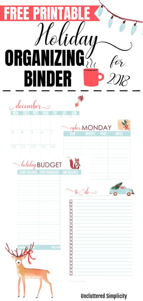Free Printable Holiday Organization Binder