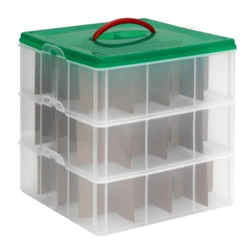 ornament storage container. Holiday organization tips.