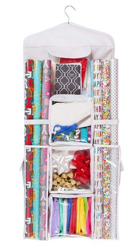 Back of door gift wrap storage Holiday organization tips.