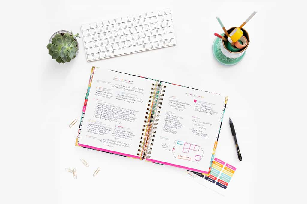open planner with goal setting pages filled in Best Planners and Organizers for 2019
