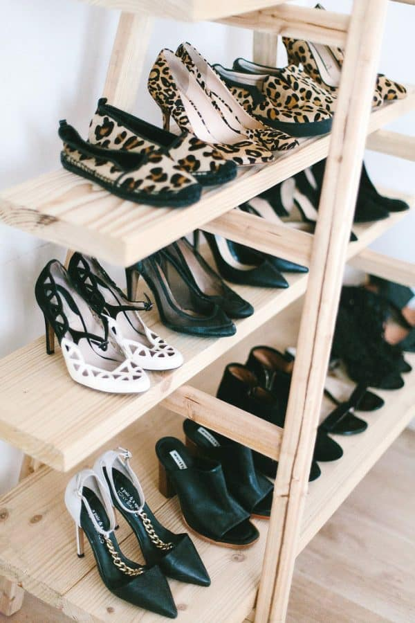 wooden ladder with shelves shoe storage-bedroom organization ideas