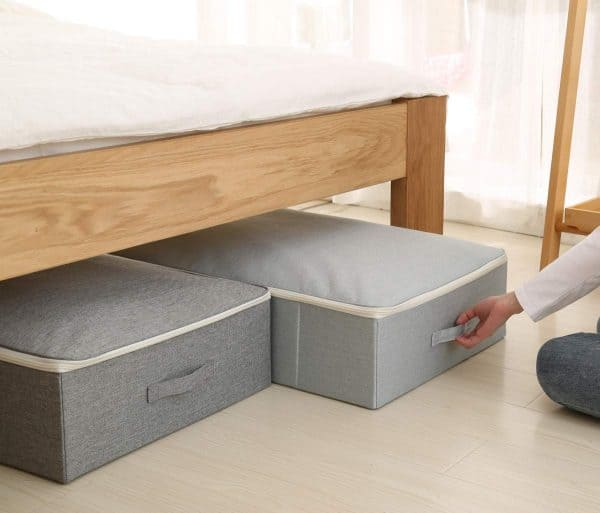 grey under bed fabric storage bins bedroom organization ideas
