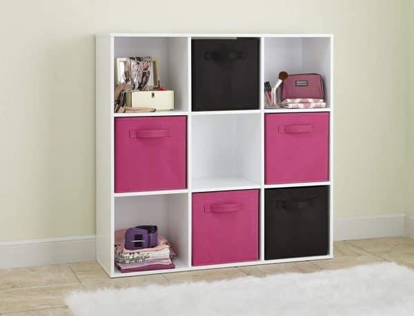bedroom organization ideas 9-cube white organizer