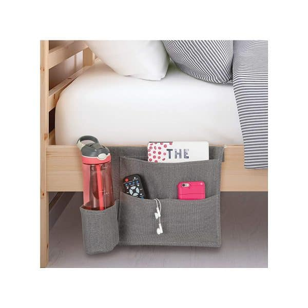 gray bedside organization caddy bedroom organization ideas