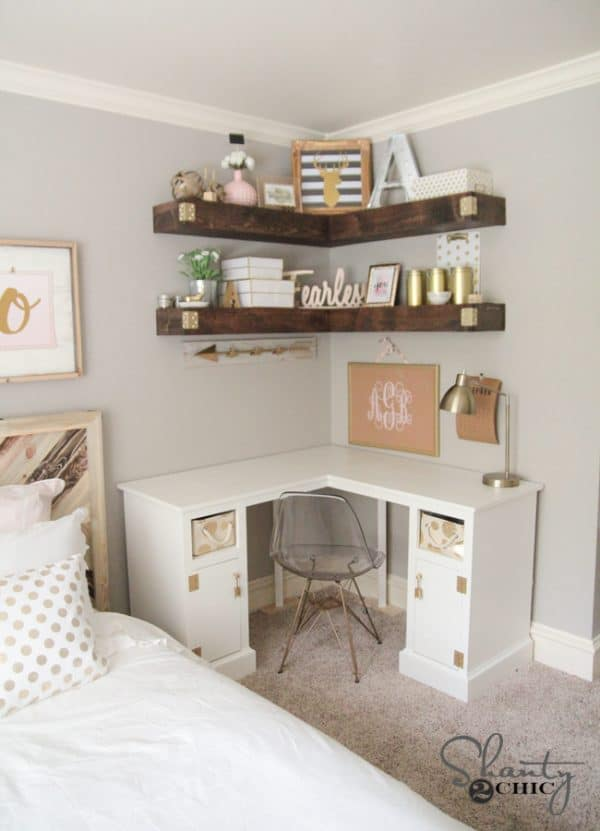 diy corner shelves-bedroom organization ideas