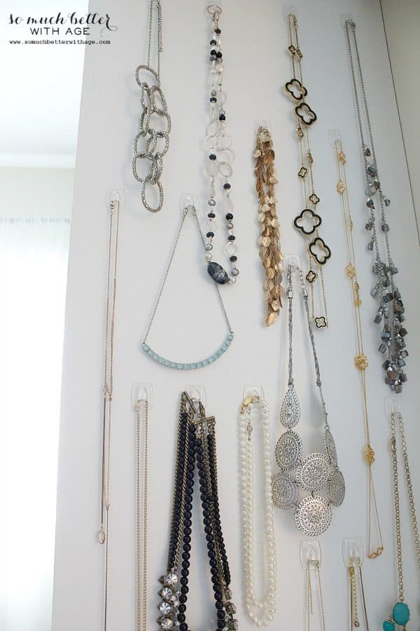 bedroom organization ideas- hanging necklaces with clear command hooks