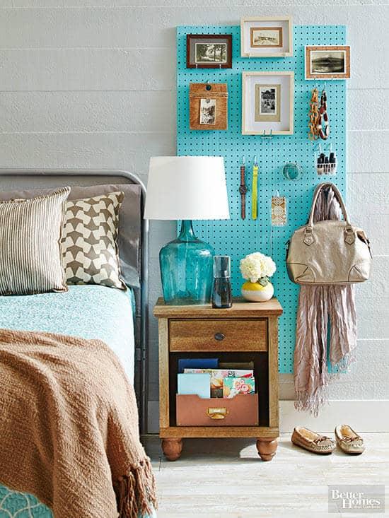 bedroom organization ideas-pegboard organizer for accessories