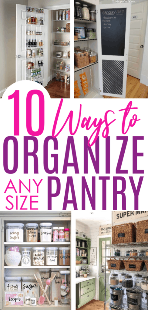 10 DIY Pantry Organization Ideas For Any Size Pantry #pantryorganization #organizedkitchen #organizationhacks