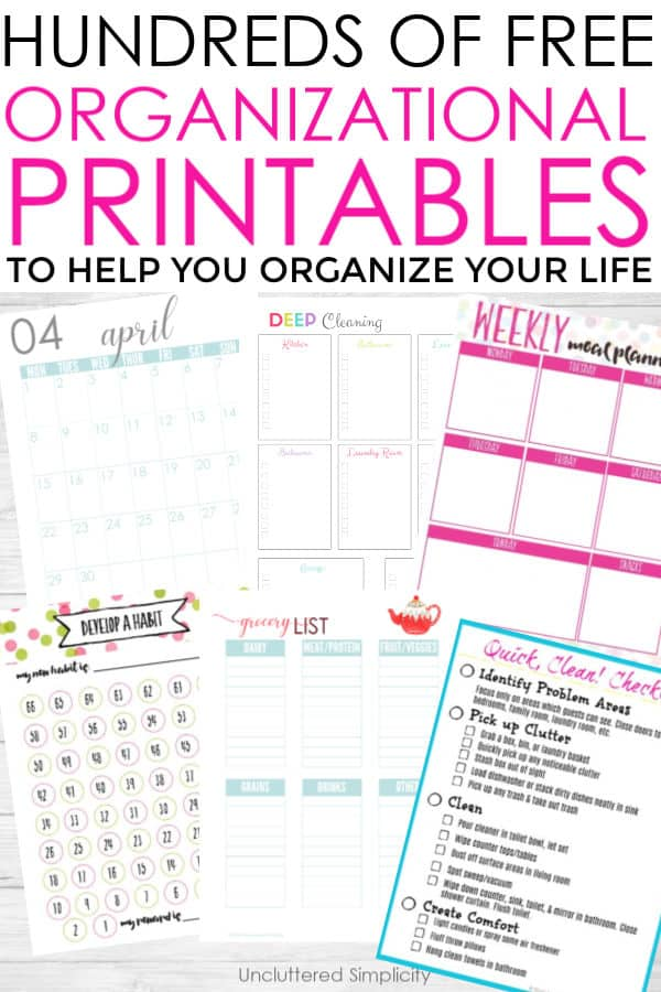 It's just an image of Fabulous Free Printables Organization