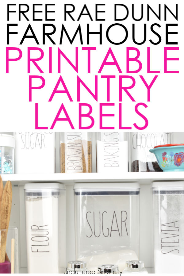 graphic about Printable Pantry Labels identified as Free of charge Printable Pantry Labels: Farmhouse Rae Dunn Encouraged