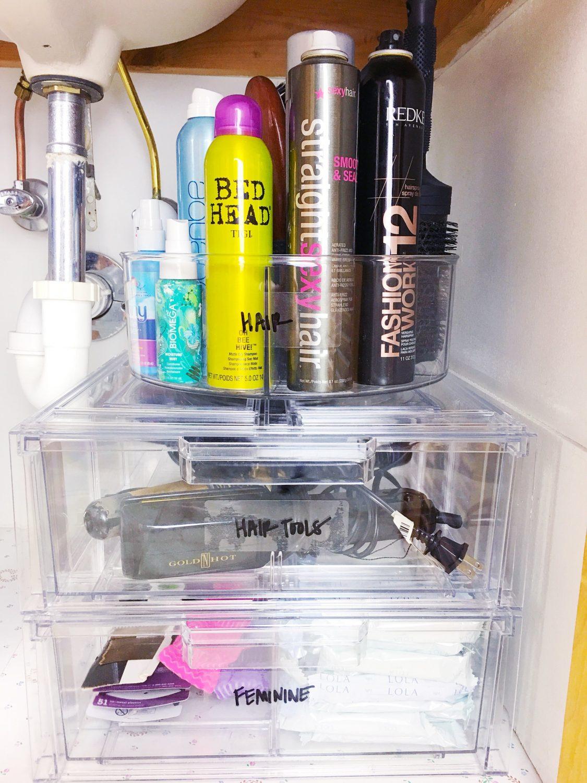 small bathroom storage ideas-undersink organization with lazy susan