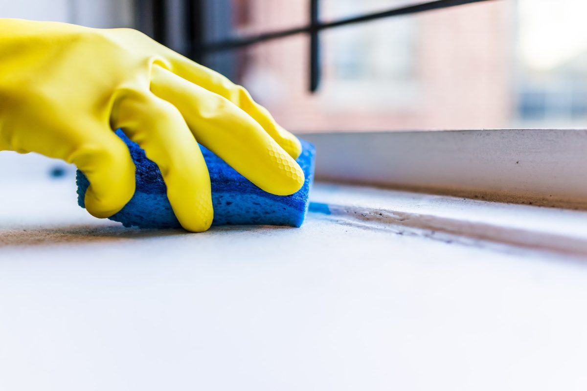 Things you are forgetting to clean-gloved hand holding sponge cleaning windowsill