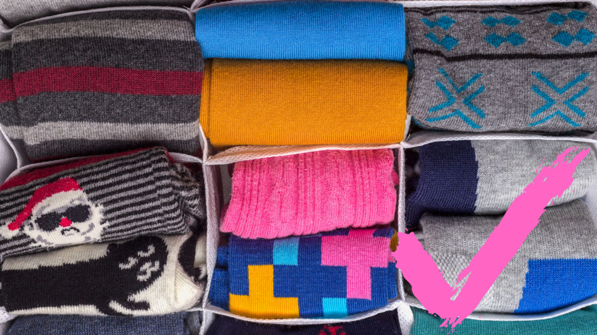 organizing socks with a divider
