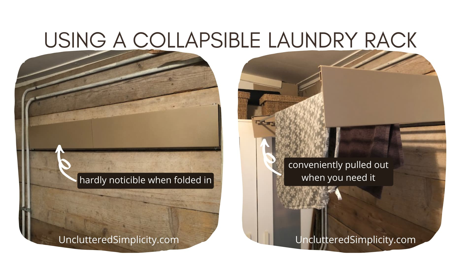 small laundry room organization idea - collapsible laundry rack